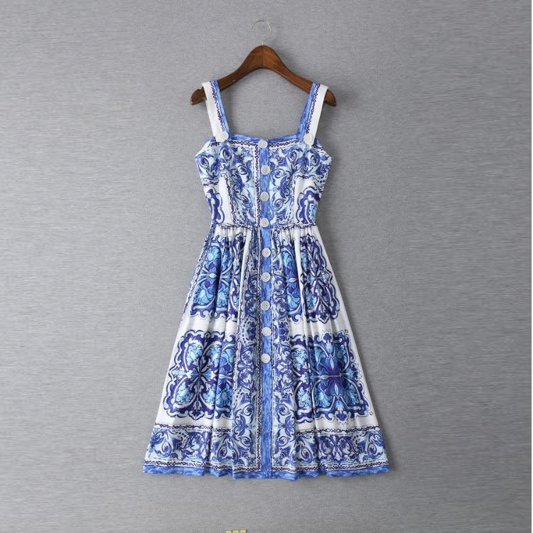 New 2015 summer women vintage fashion brand blue white porcelain print dress spaghetti strap buttons slim midi dresses женское платье dress new brand 2015 o dresses women