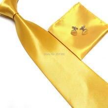 HOOYI набор галстуков для мужчин Запонки карманные полотенца шейный платок золотой