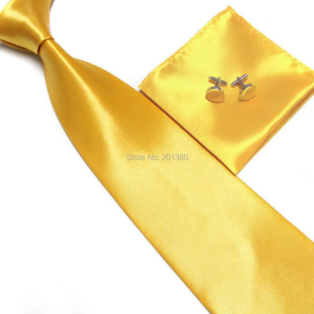 HOOYI neck tie set Ties for men cufflinks Pocket towel handkerchief necktie gold