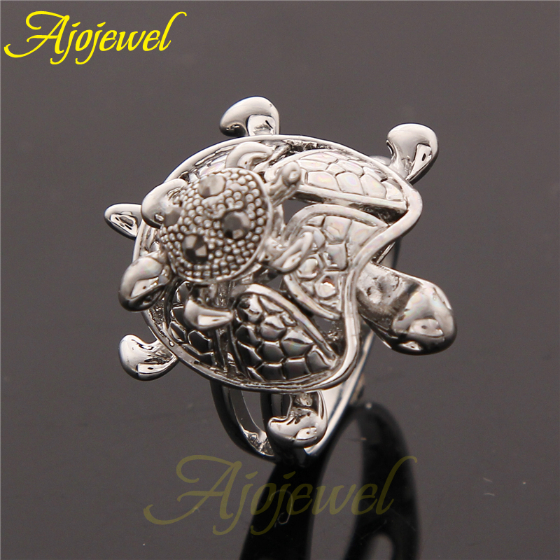 Ajojewel Unique Maternal Love Animal Jewelry Crystal Turtle Ring Mother Son