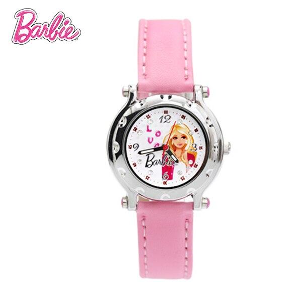 100% Подлинная Барби часы моде Розовый Часы Часовой Бренд Часы Принцесса Девочка Дети Кожа Наручные Часы Подарок relojes BA00080-1