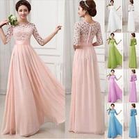 Fashion New Women Long Chiffon Formal Dress Sexy Elegant Lace Maxi Ball Gown Dresses