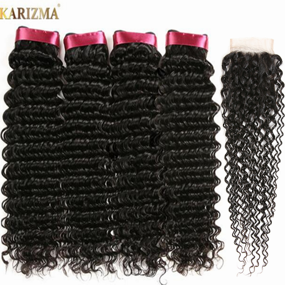 Deep Wave Brazilian Human Hair Bundles With Closure Free Part 5Pcs/lot 4 Bundles With Closure Non Remy Human Hair Karizma