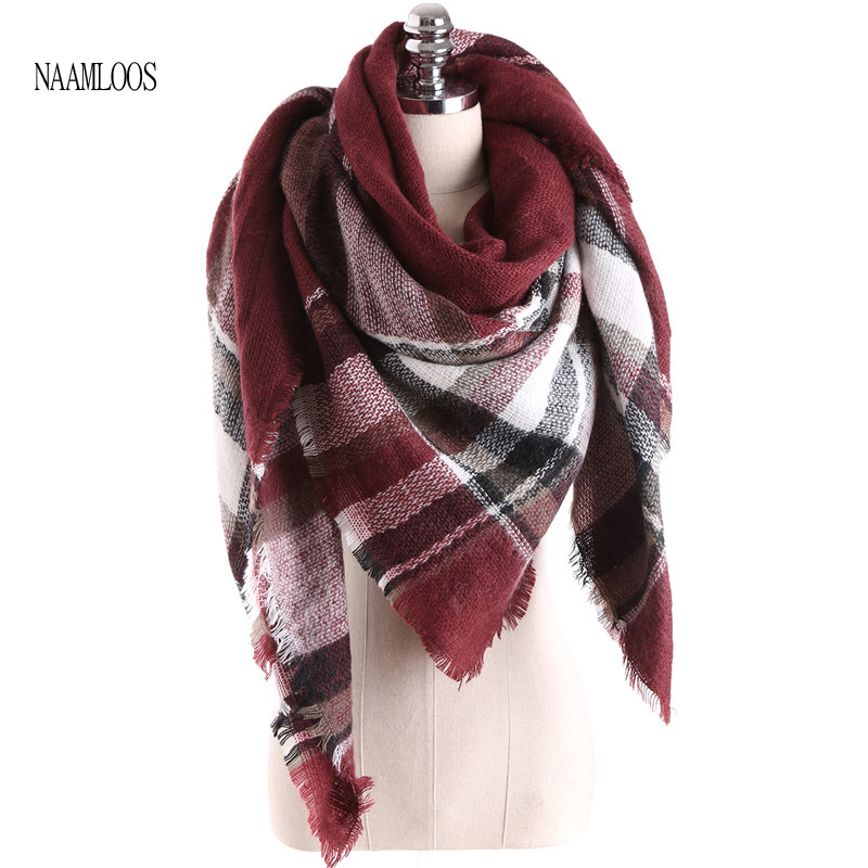 2017 Fashion Brand Big Square Scarf För Kvinnor Cashmere Winter Warm New Designer Sjalar Mjuka Plaid Blanketter Storlek 140cmx140cm