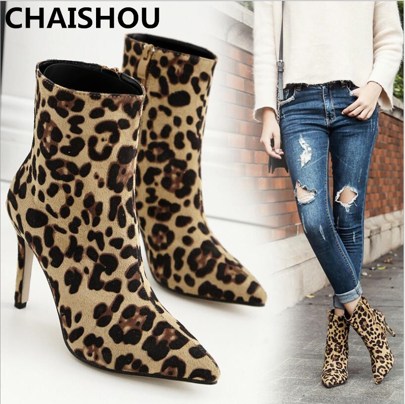 CHAISHOU 2018 Fall Winter new pointed fashion sexy leopard zipper Ankle Boots Women Shoes platform high heels For Girl F-121 1