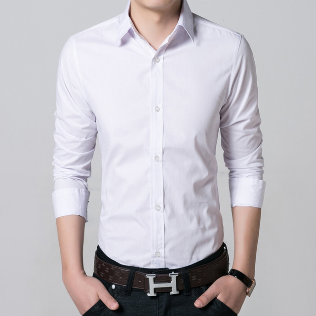 0ba73ecc8507 2017 new men's dress shirts business formal pure white long sleeved shirt  high quality slim fit