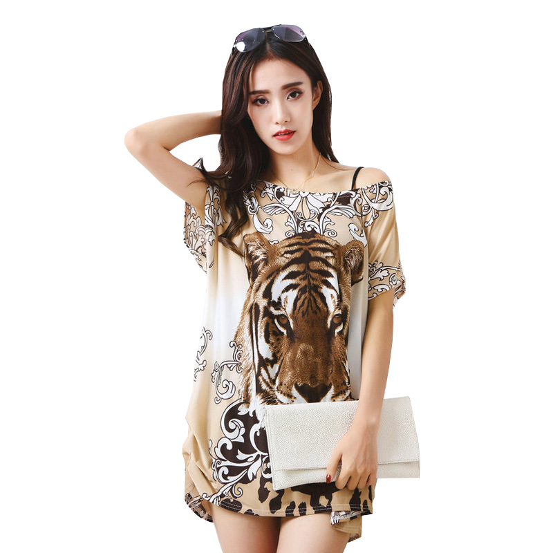 T Shirt Dress 2019 Hippie Boho Animal Print Mini Summer Beach Dress Floral Sexy Off Shoulder Dresses Women Ice Silk Korean Tunic