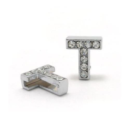 A-Z, 8 мм, стразы, кулон, буквы, подходят для DIY, подарок, шарм, кожаный браслет, браслет, пояс, ожерелье, ювелирные аксессуары - Окраска металла: T