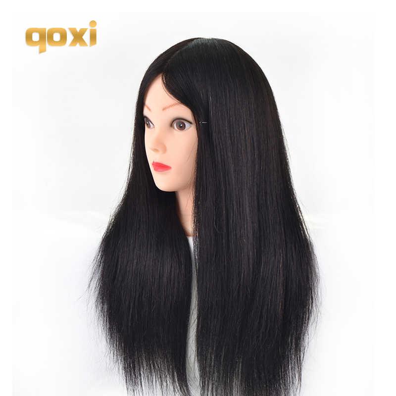 Qoxi Professionelle ausbildung köpfe mit 90% echte menschliche haare kann gekräuselt werden praxis Friseur mannequin puppen Styling maniqui