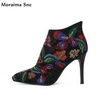 Moraima Snc Mắt Cá Chân mỏng cao gót nền tảng tinh thể màu sắc pha trộn chỉ dây kéo phía toe chắp vá sexy đảng phụ nữ giày dép
