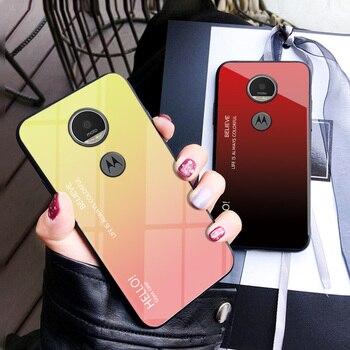 565e6253f Para Motorola Moto E5 caso de lujo de templado de vidrio de marco de  silicona de moda gradiente cubierta protectora para Motorola Moto G6 jugar