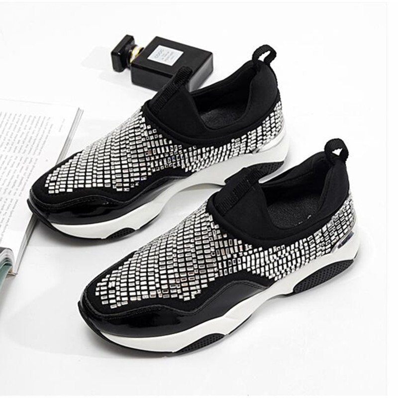 New Fashion Casual Shoes Woman Luxury Craystal Comfortable Breathable Mesh Flats Female Platform Sneakers Women Chaussure Femme цена