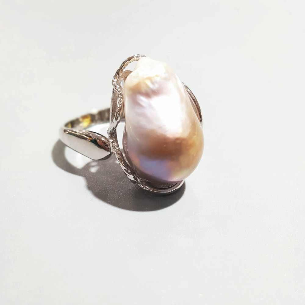 Lii Ji Real White/Pink Purple Baroque Pearl 925 Silver Adjustable Ring