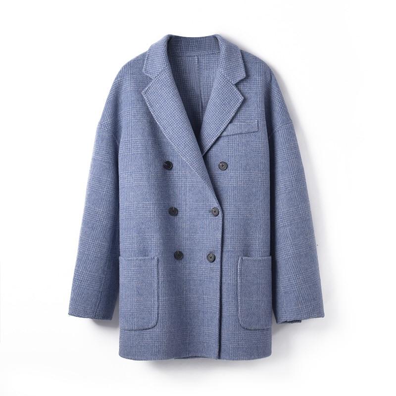 Femmes Bleu Nouveau D'affaires 2019 Printemps 100 Blue mix Manteaux Brun De Lâche Grand Qualité Supérieure Outwear Formelle D'alpaga Sky Élégant Brown Laine C8BqaxCZS