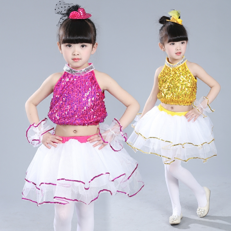 Kid girl pink yellow Sequin jazz costume dress hip hop clothing skirt costume for children vest+skirt