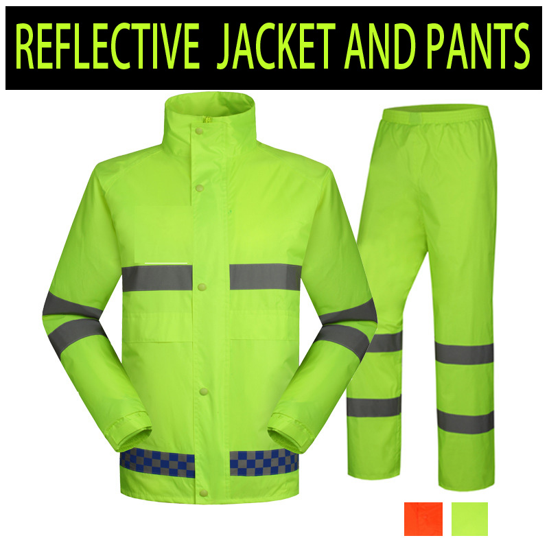 SPARDWEAR High visibility fluorescent  yellow split raincoat with reflective strips tapes rain suit rainwear free shipping 2017 motoboy motocross riding sports car split raincoat rain pants suit professional male motorcycle rain gear and equipment