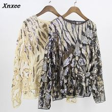 Vintage Women Party Blouse Tunic Sexy Boat Neck Long Sleeve Beaded Sequin Lace Mesh Shirt Top Leaf Pattern Embroidered Shirt цена 2017