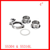 Free Shipping 4 SS304 Beverage Union Tri Clamp Complete Set 2x Ferrule 1xclamp 1xgasket