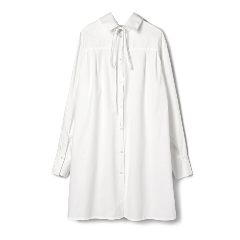 2019 primavera e no verão das mulheres novas temperamento camisa vestido feminino de volta com dois lados vestindo longa seção