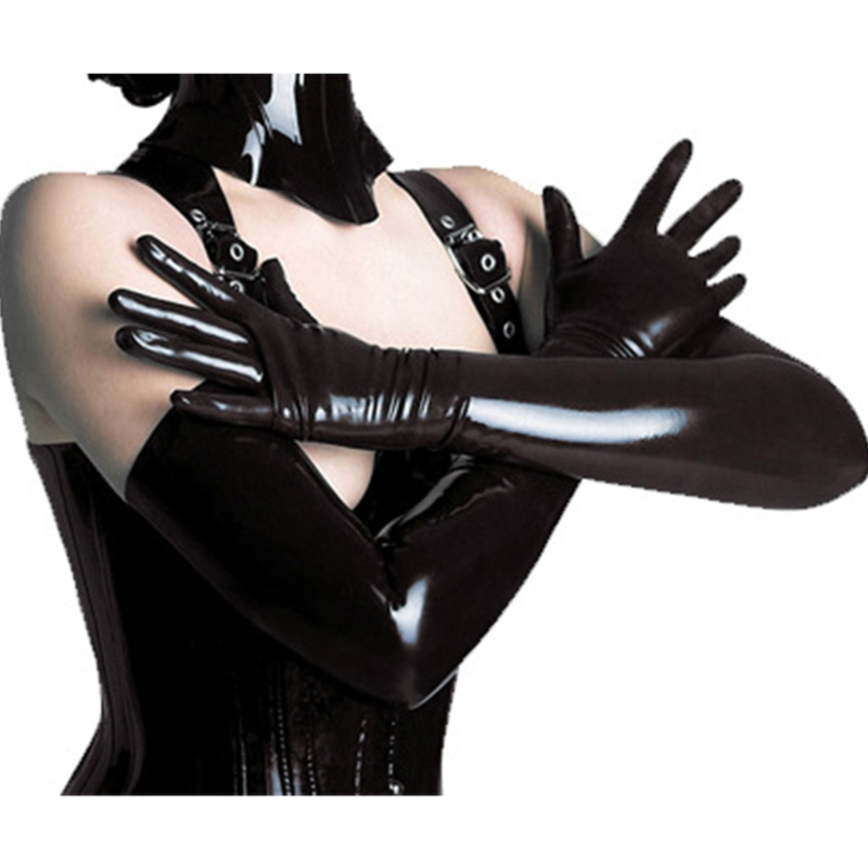 Women Sexy Elastic Shiny Mid-Upper Arm Length Wet Look Long Black Solid Gloves