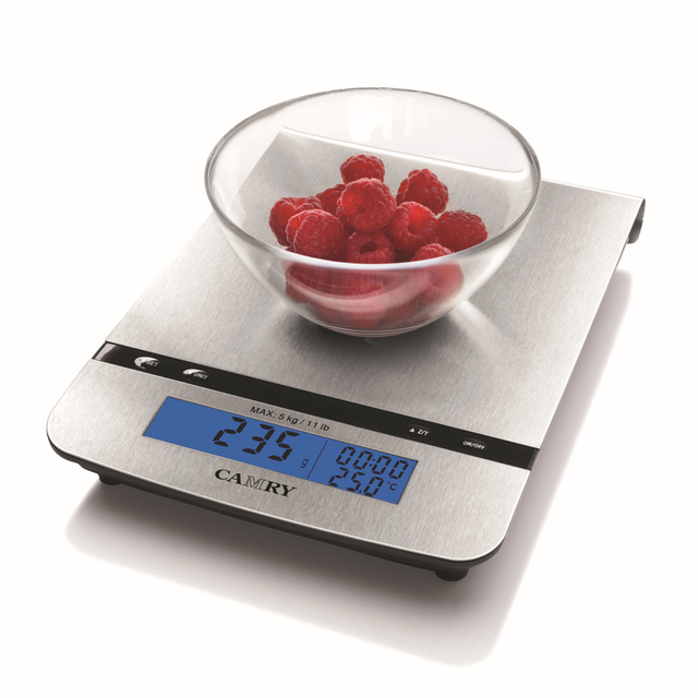 CAMRY 5kg Digital Household  Kitchen Scales Timer  Weighing Scales with Stainless Steel Platform Tare Function Russian warehouse
