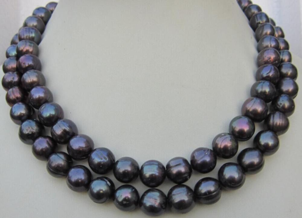 35 HUGE 11-13MM NATURAL SOUTH SEA BLACK PEARL NECKLACE 925silver GOLD CLASP35 HUGE 11-13MM NATURAL SOUTH SEA BLACK PEARL NECKLACE 925silver GOLD CLASP