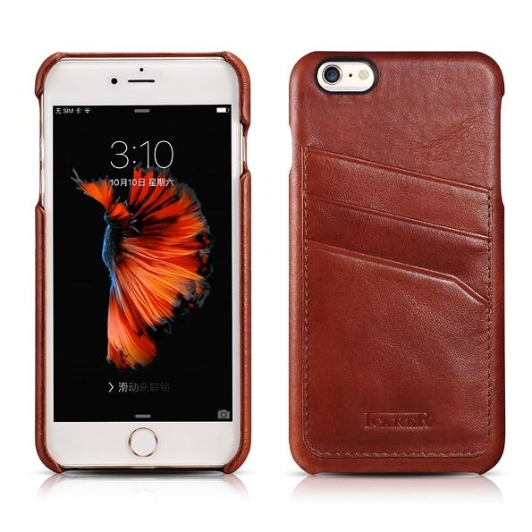 ICARER Vintage-fodral för iPhone 6s 6 Plus äkta läder i full - Reservdelar och tillbehör för mobiltelefoner