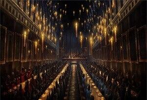 Image 2 - جديد هاري هوجوورتس قاعة الطعام الشموع الكنيسة مخصص استوديو الصور خلفية راية الفينيل 220x150cm