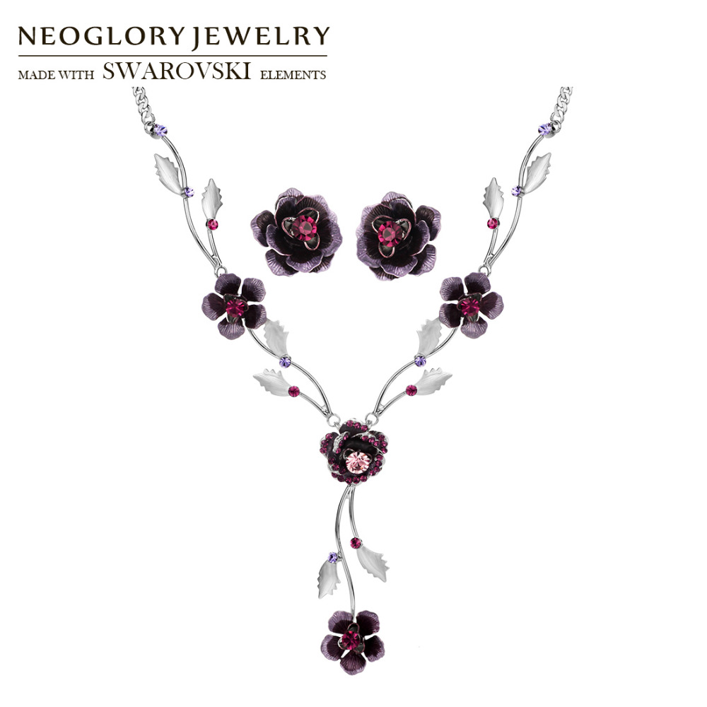 Neoglory MADE WITH SWAROVSKI ELEMENTS Rhinestone & Enamel Jewelry Set Elegant Flower Style Wholesale Necklace & Earrings Women rhinestone frangipani flower necklace