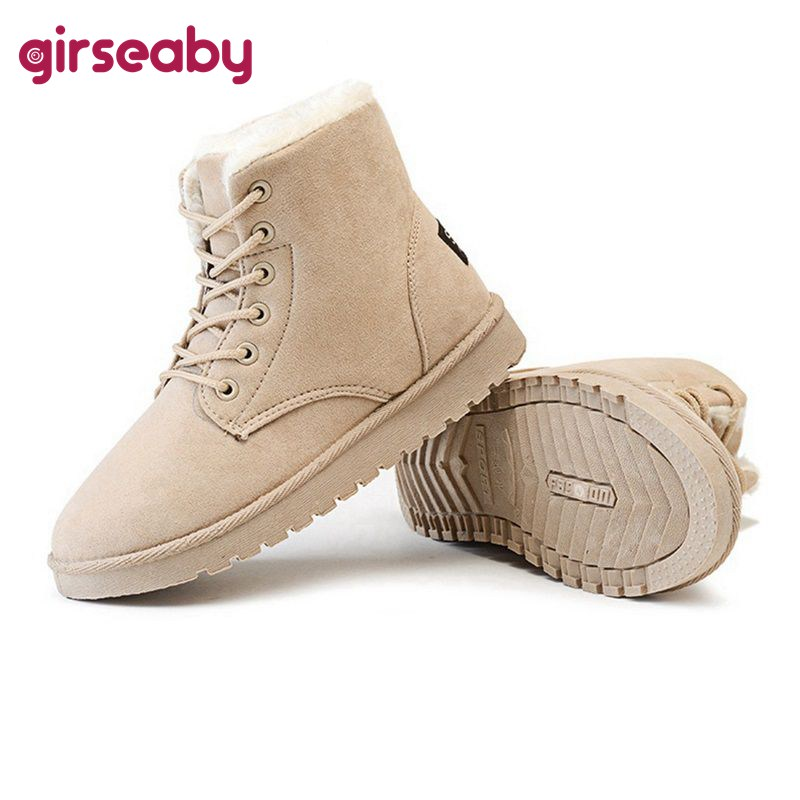 Girseaby Hot sale Women Boots Winter Warm Snow Boots Women Botas Mujer Lace Up Fur Ankle Boots Ladies Winter Women Shoes Black