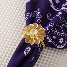 6PCS Western-style flower imitation diamond napkin ring Hotel set wedding buckle
