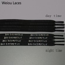 Weiou 7mm Flat Nice Letter Printing 3M Reflective Japanese Katakana Kanji Shoelaces Plastic Tips Printed Laces For Sport Shoes 30pairs lot weiou 3m reflective flat laces fit for ultra boost nmd tubular shoestring new lace designs bulk shining shoelaces