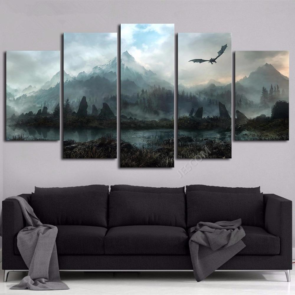 Frame Canvas Painting 5 Panels Skyrim Wall Art Modern Home ...