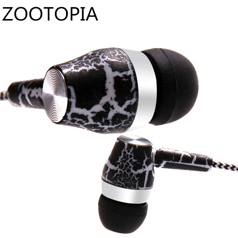 Crack Earphone Cloth Rope Earpieces Stereo Bass MP3 Music Headset with Micrphone for Cellphone MP3 MP4