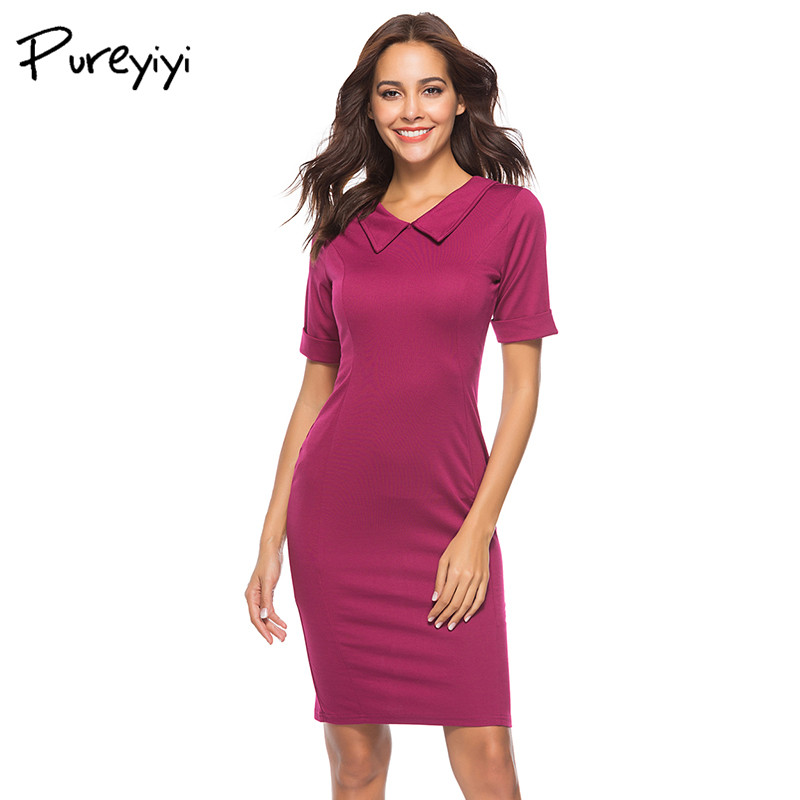 Pureyiyi Shirt Dress Women 2018 Summer Bodycon Vestidos sexy Casual Female Dresses Tight Womens Dess