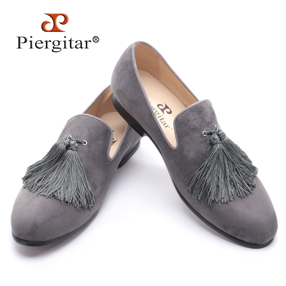 Piergitar new black and gray color velvet men handmade shoes with exquisite tassel party men loafers plus size men's dress shoes new handmade men fashion party and