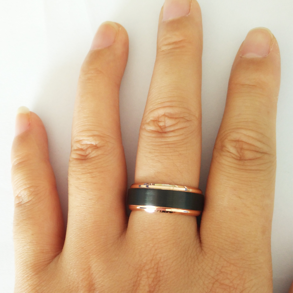 Alibaba Aliexpress Cool Men Ring 8mm Black Rose Gold Color Tungsten Carbide Wedding Band Rings Female Punk Finger Jewelryin Bands From Jewelry: 8mm Wedding Band Ring On Hand At Reisefeber.org