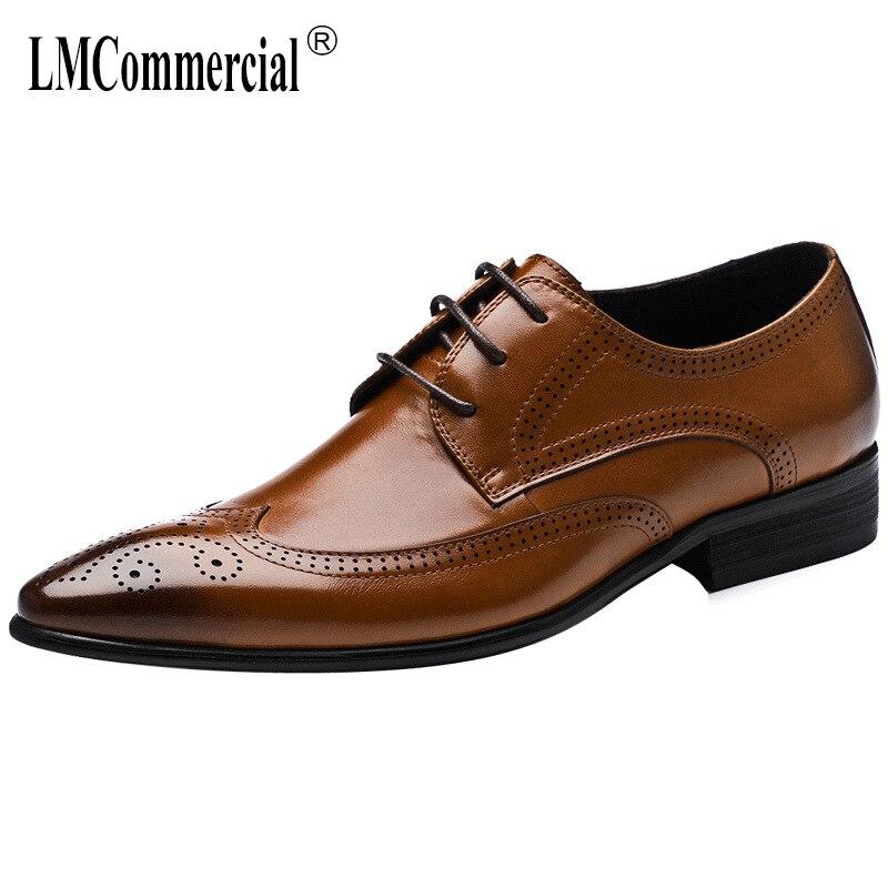Bullock Negocios Brown Zapatos Moda De Ocio Piel Cuero Encaje Hombres Vestir Hombre Genuino negro Vaca Los Primavera 4xHBFqn4rw