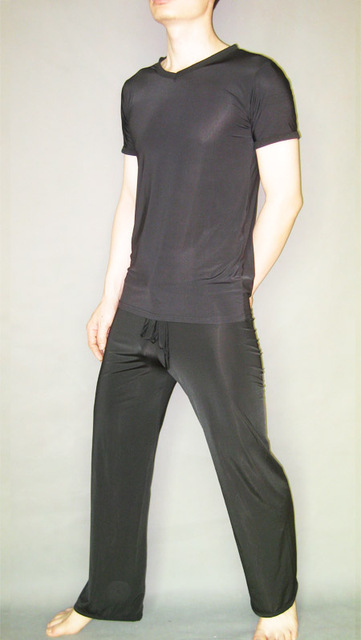Male sexy sleepwear viscose short-sleeve top loose casual trousers