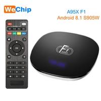 10 шт./лот A95X F1 Android 8,1 ТВ коробке 2 GB 16 GB 2,4G Wi-Fi Amlogic S905W Quad-Core Media Player Поддержка 3D кино HD Декодер каналов кабельного телевидения