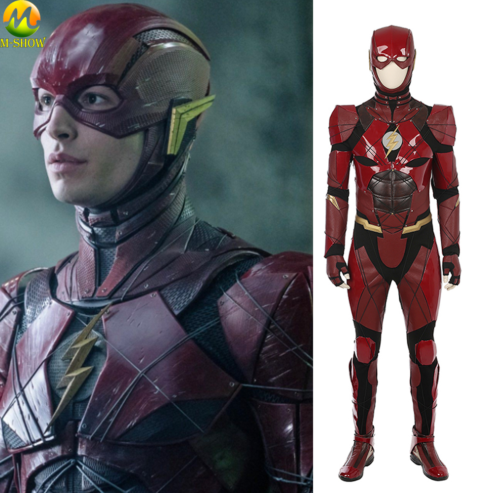 Justice League The Flash Cosplay Costume Barry Allen Cosplay Costume Halloween Men Jumpsuit Bodysuit Custom Made