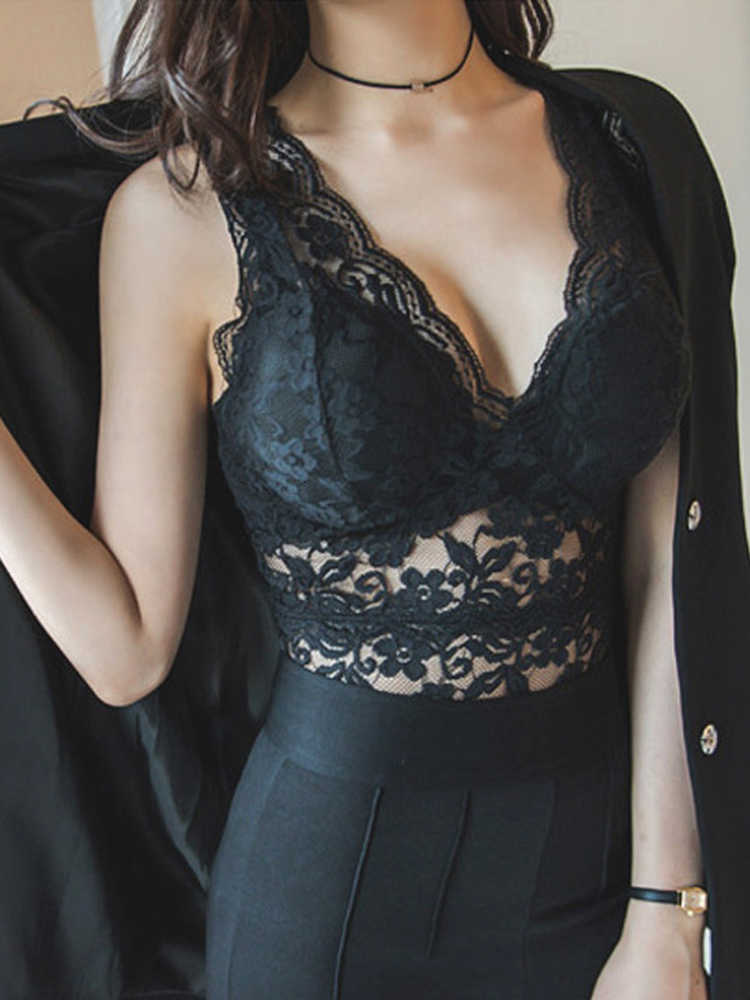 2019 Summer Sexy Lace Camisole Deep V-neck Women Hollow out Tank Tops Sleeveless Plus Size Bralette Crochet Camis Black lace top