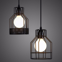 LED light balck Iron metal cage lamp Vintage Attic pendant light lampshade American style lighting light fixture