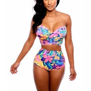 Women High Waist Sexy Bikini Set Bandage Swimsuits Print Crossover Swimwear Bathing Suits New Arrival 1