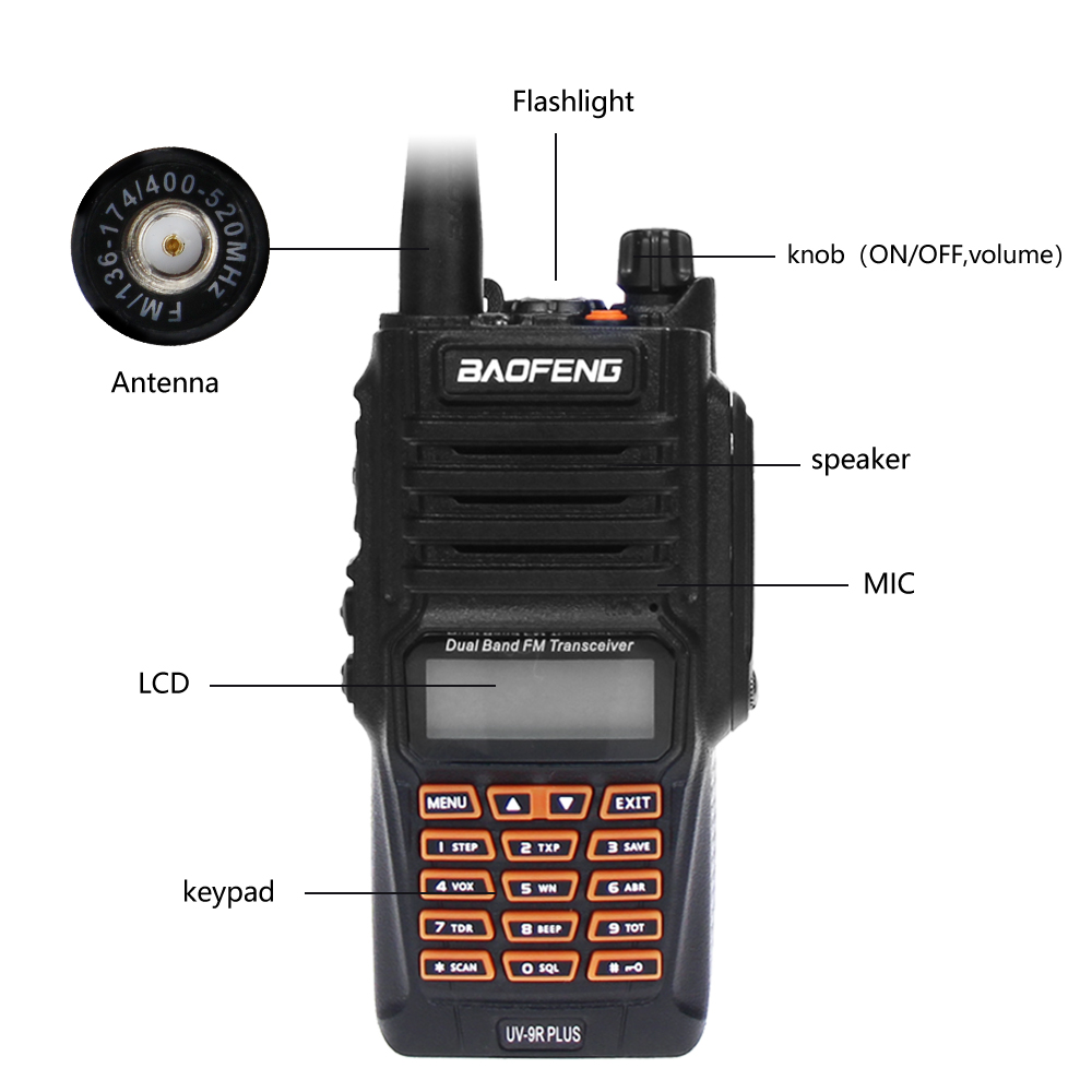 Image 3 - Newest Baofeng UV 9R Plus Walkie Talkie Waterproof 8W UHF VHF Dual Band 136 174/400 520MHz Ham CB Radio FM Transceiver Scanner-in Walkie Talkie from Cellphones & Telecommunications