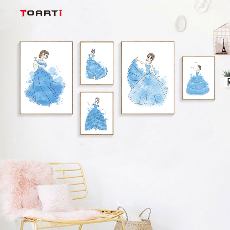 Five Beautiful Blue Dress Princesses Canvas Painting Modern Cartoon Wall Art Vintage Poster Nursery Prints Girls Room Home Decor