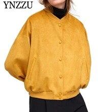 YNZZU 2019 Spring Stand Collar Long Sleeve Velvet Jacket Women Casual Single Breast Loose Solid Bomber Coats Femme YO781