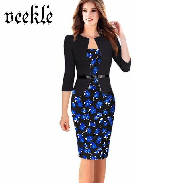 Veekle mujeres oficina dress plus size faux de la chaqueta de una sola pieza vestidos de bodycon vestidos patchwork elegante desgaste del verano para trabajar 6xl 7xl