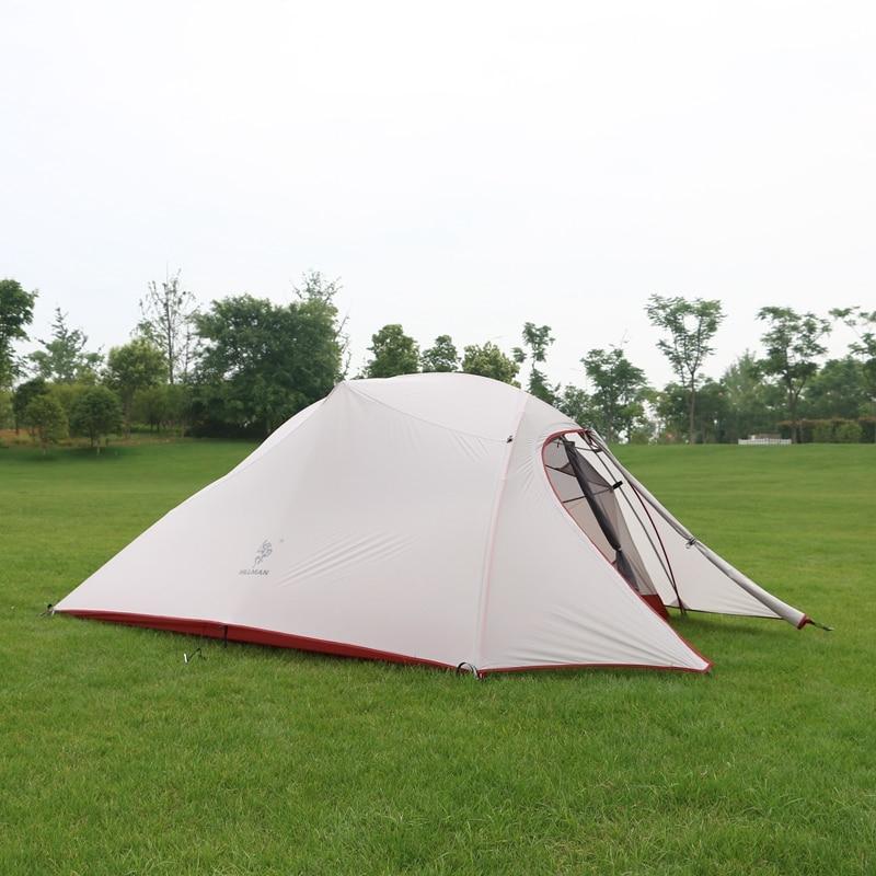 Hillman 3 personnes tente 20D Silicone tissu ultraléger Double couches en aluminium pôle extérieur Camping tente pour 4 saisons