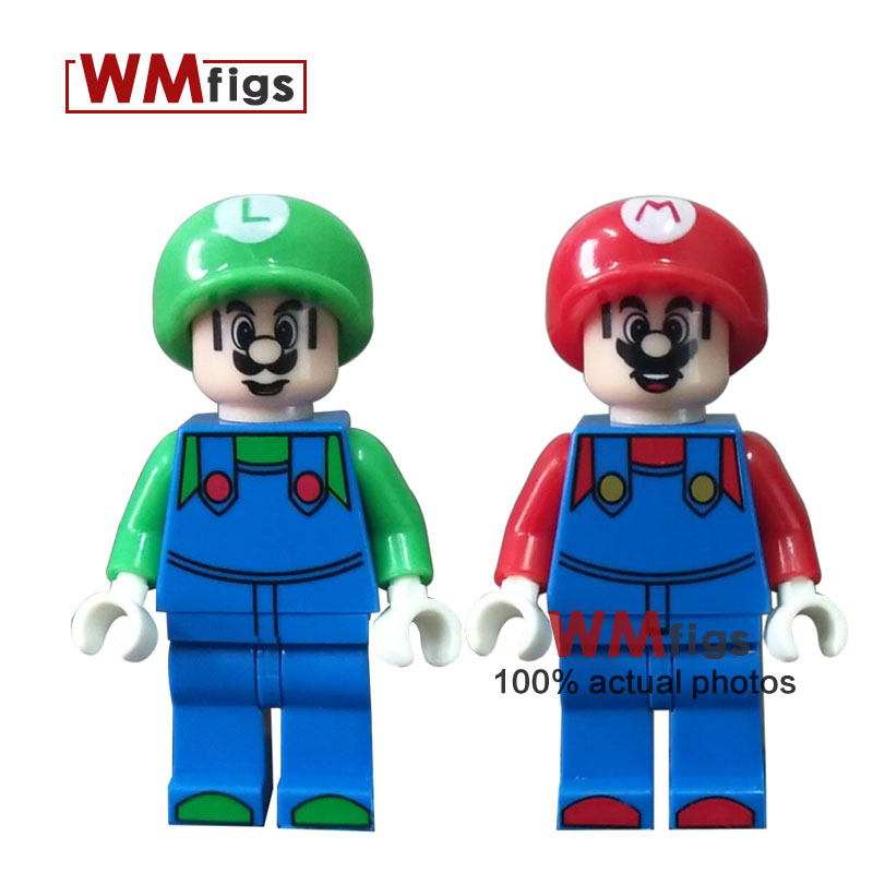 50pcs lot super Mario Bros Maleficent Luigi Princess Serie Elsa Anna Action s Building Blocks For